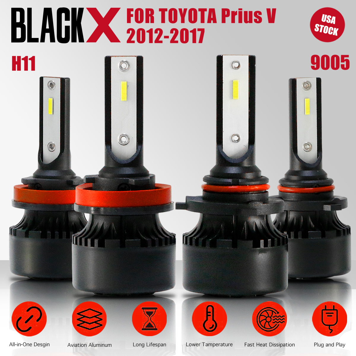 Details about H11+9005 High/Low Beam Suit LED Headlight Bulb Kits For  Toyota Prius V 2012-2017