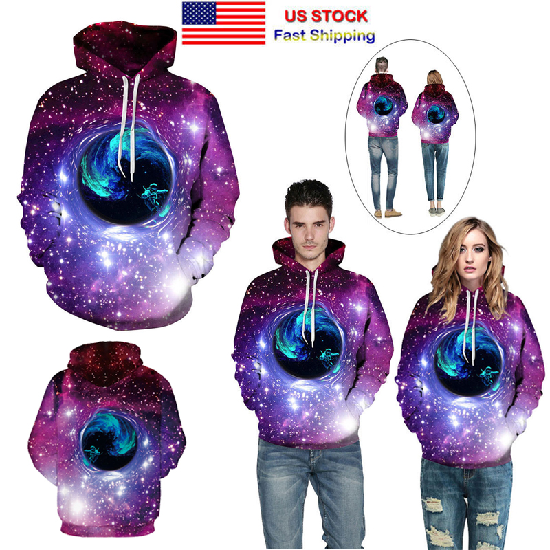 Xmas Gift 3D Animal Wolf Print Space Galaxy Graphics Sweatshirt Hoodie Sweat Top