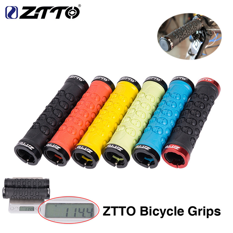 New Lock-On Mountain Bike Handlebar Grips Rubber 133mm Black//Red Bicycle