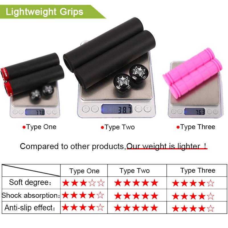 MEROCA MTB Silicone Handlebar Grips Soft Elasticity Non-Slip 130mm Superlight
