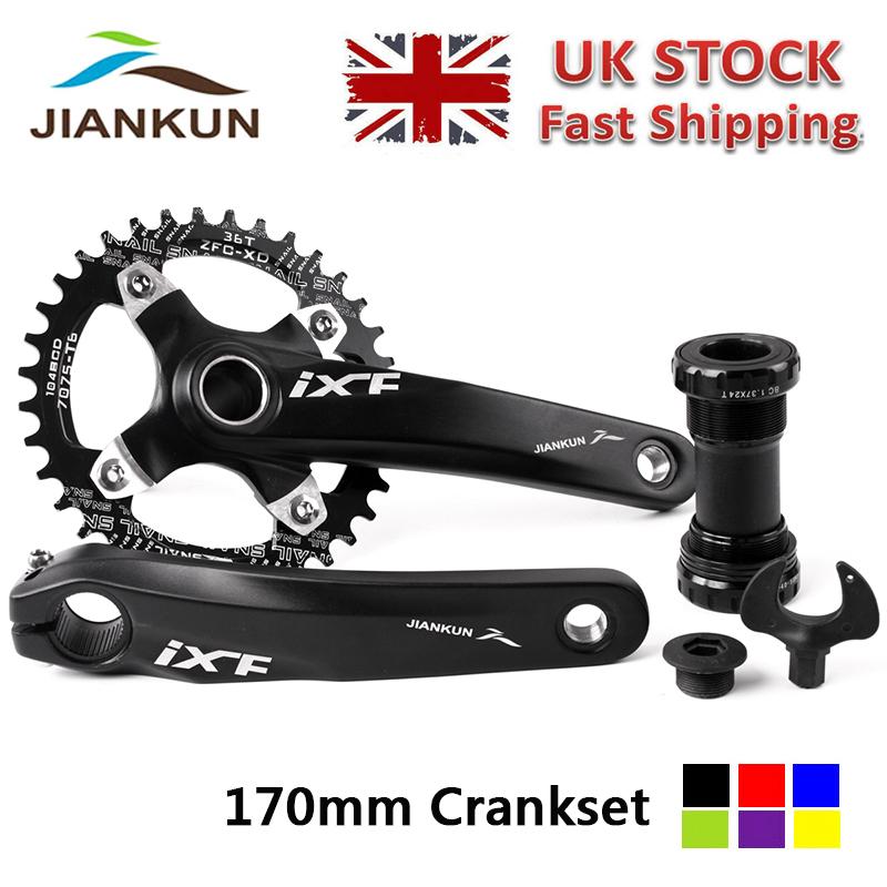 FMFXTR 【UK Stock】 Mountain Bike Crankset Chainring Set Aluminum Alloy Crank Narrow Wide 104 BCD 32-42T Chainring Bottom Bracket Bolts MTB Road Bicycle Chainset