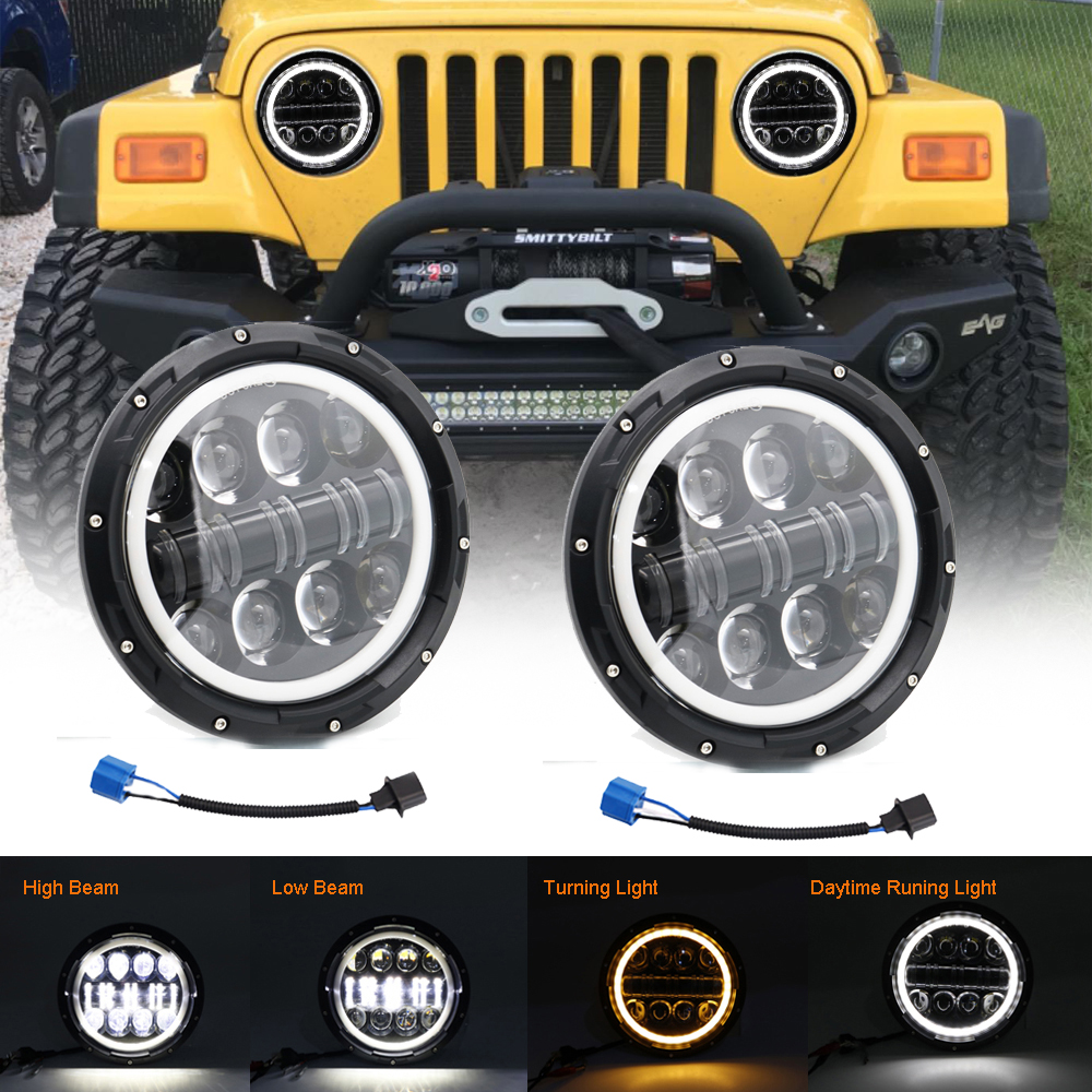 "2Pcs DOT 7/"" INCH Round LED Headlights For Wrangler Rubicon Sport JK JL TJ LJ CJ"