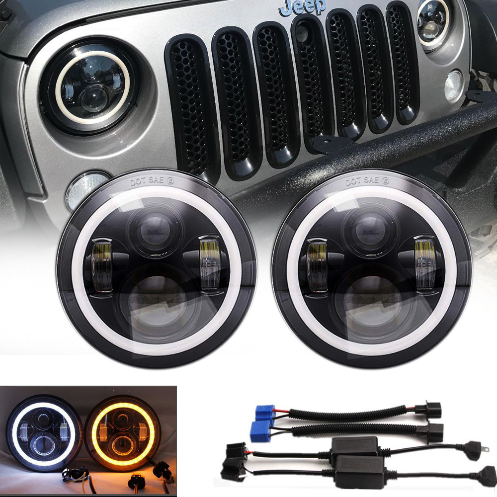 7inch Halo Angel Eyes Led Projector Headlights For Jeep