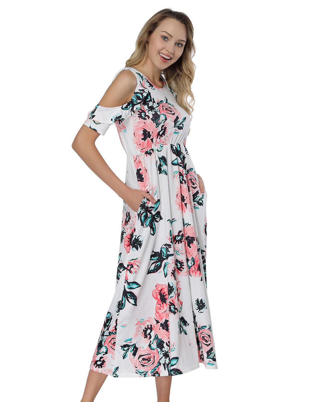 2018 Hot Fashion Womancold Shoulder White Floral Print Midi Dresses