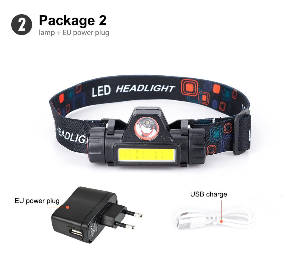 Plug XPE COB LED Headlamp USB Rechargeable Flashlight Mini Headlight Torch Lamp