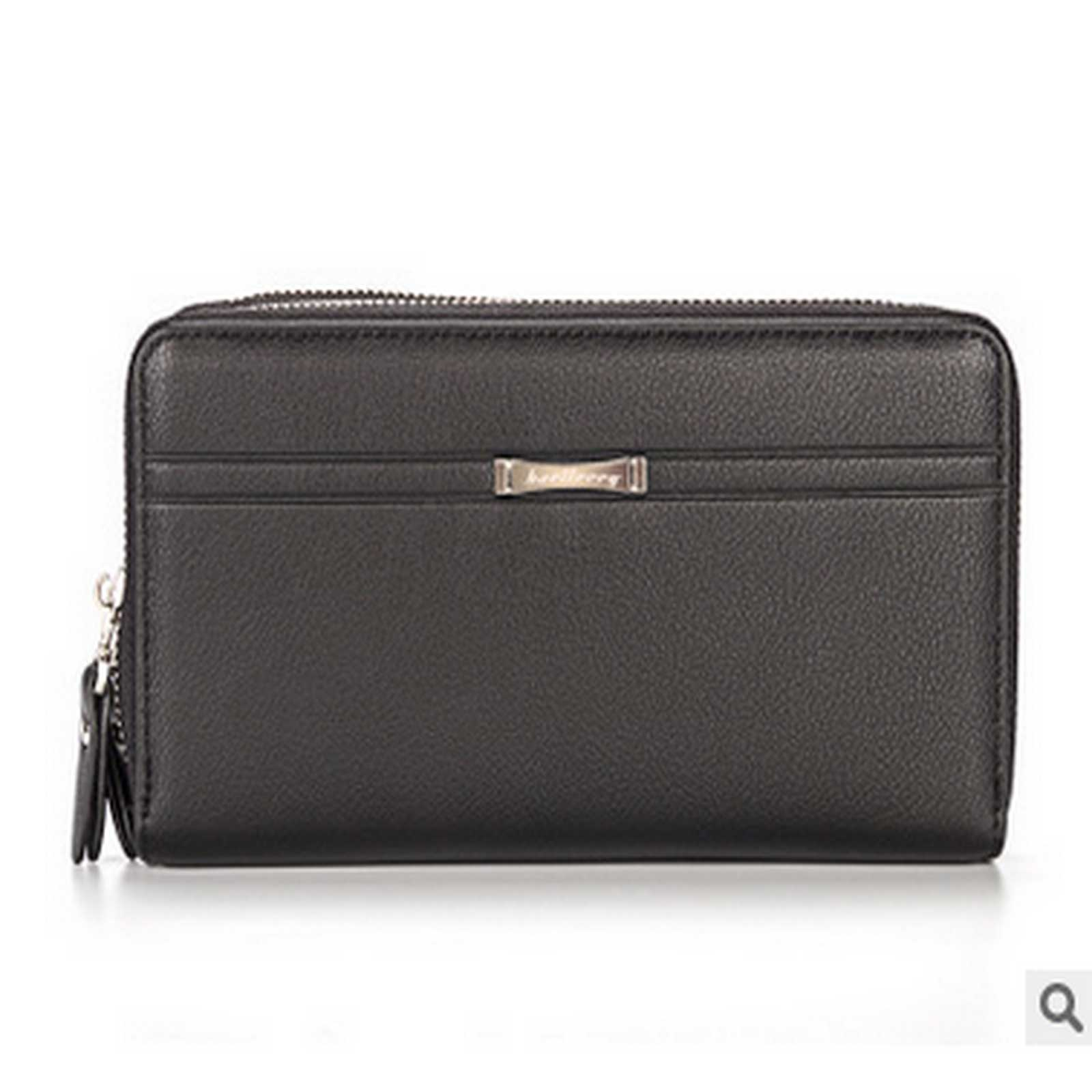 Multifunction-Casual-Business-Dual-Zippers-Hand-Bag-Men-039-s-Leather-Wallet