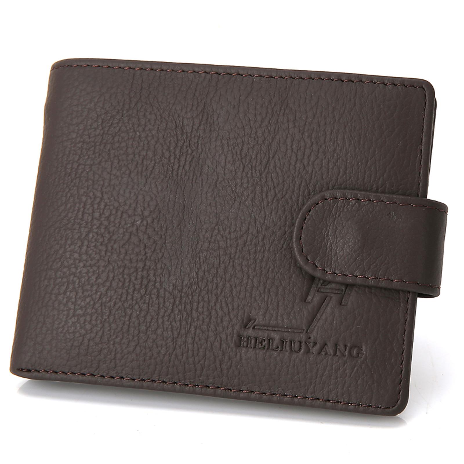 Details about Cowhide Leather Men's Bifold Money Clip Purse Pocket Short Wallet Coin Bag