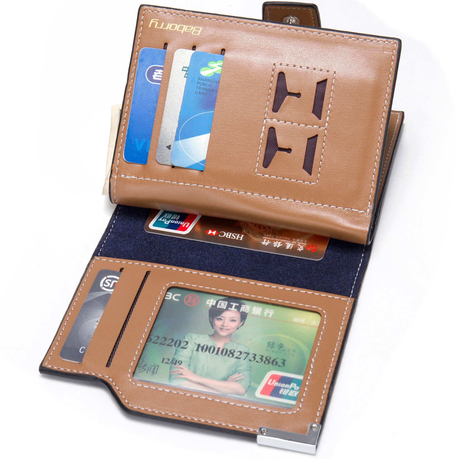Credit Coin: Men's Zipper Hasp Leather ID Credit Card Coin Photo
