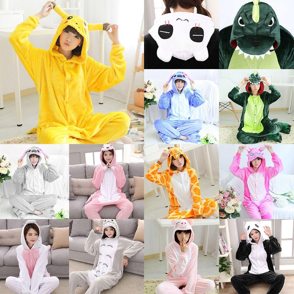 USA Unisex Adult Kigurumi Animal Pajamas Cosplay Costume Sleepwear Jumpsuit
