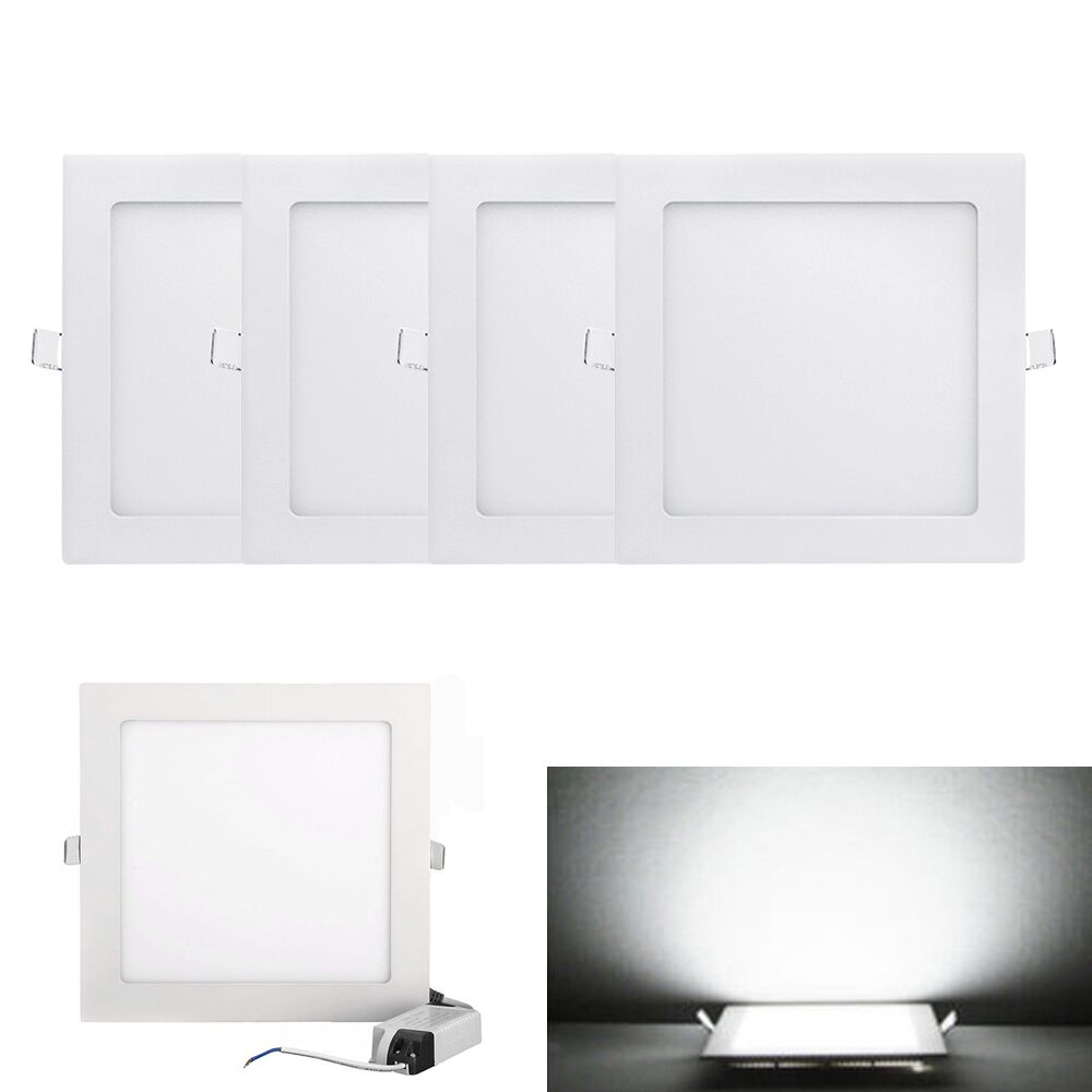 Details About 4 Pcs 12w Square Recessed Led Ceiling Down Lights Lamp Fixture Cold White 6 5