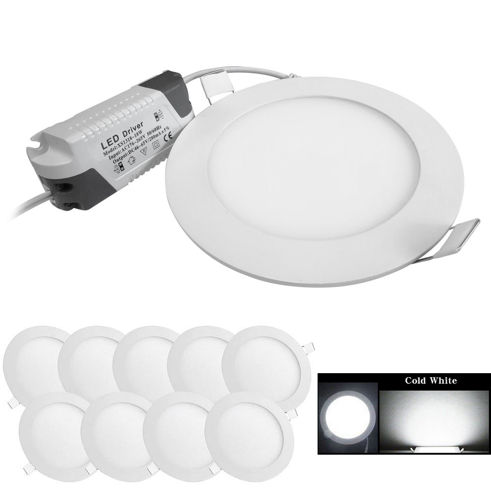 "10X Cool White 9W 6/"" Round LED Recessed Ceiling Panel Down Lights Bulb Slim Lamp"