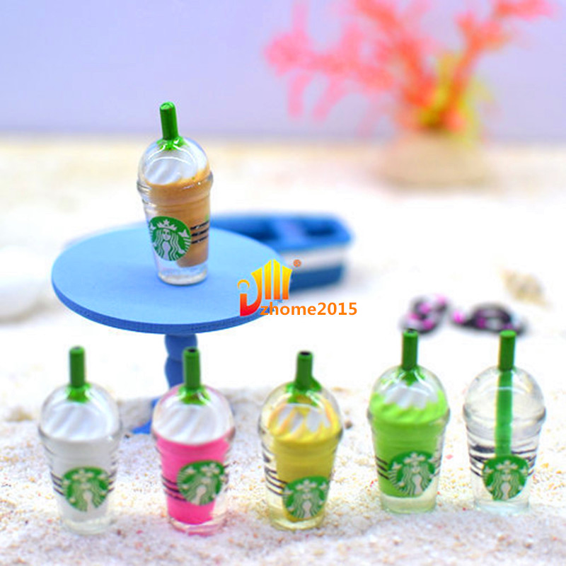 2PC Doll house miniature tea with milk cups food drink beverage toy decor Zd