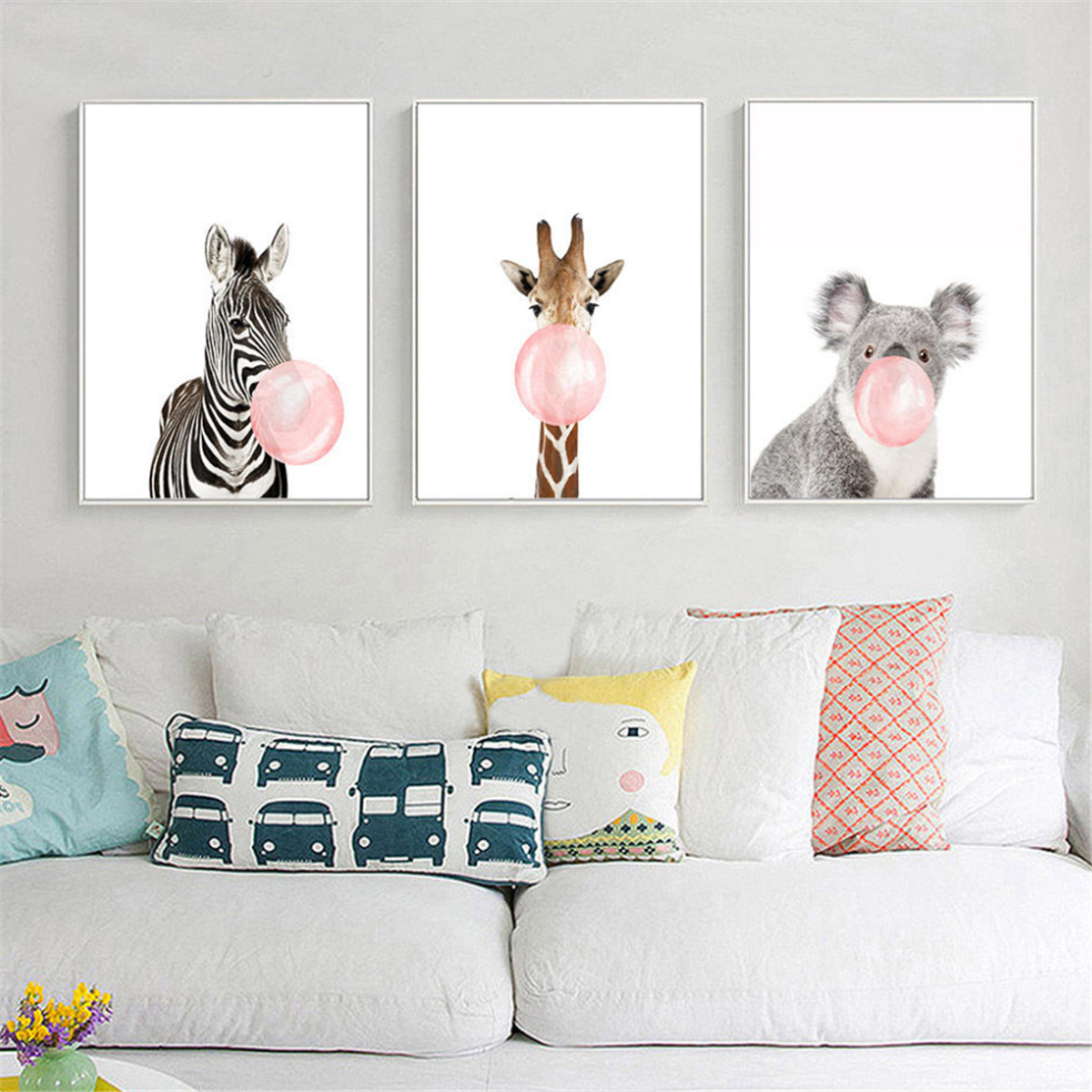 Animal Koala Giraffe Zebra Canvas Poster Nursery Wall Art ...