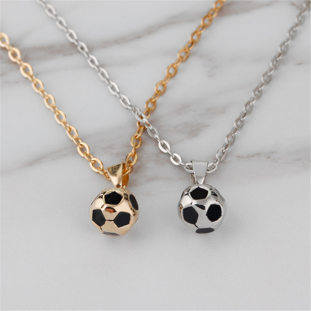 Mens fashion football pendant gold black sports necklace soccer mens fashion football pendant gold black sports necklace soccer ball dreamed aloadofball Image collections