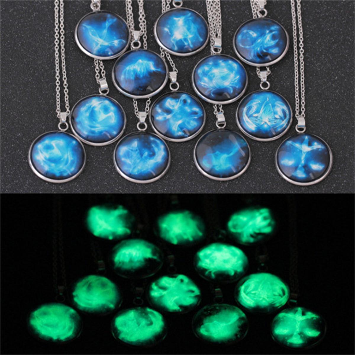 12 Constellation Luminous Glow In Dark Zodiac Cabochon Necklace Pendant Fashion
