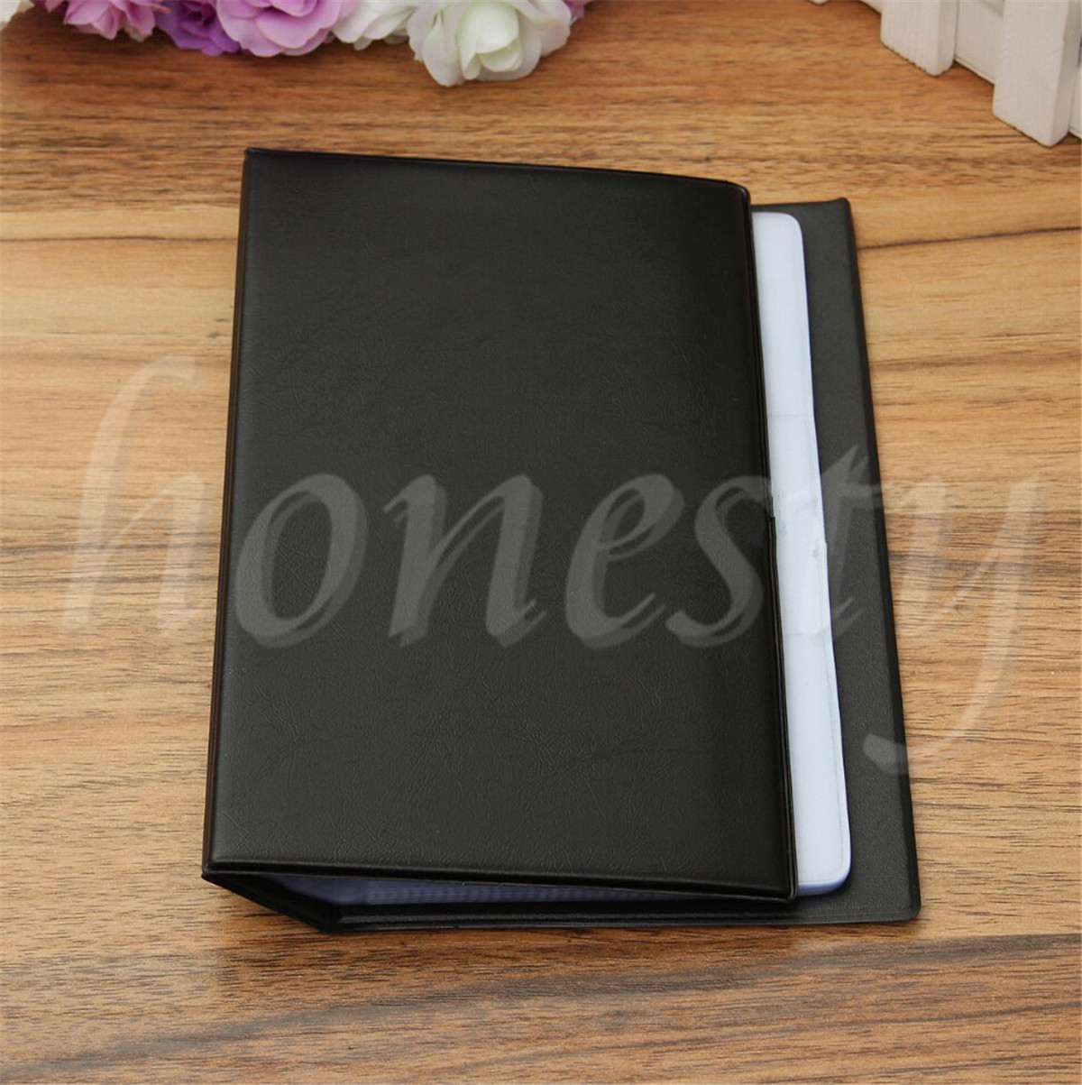 Black Leather 300 Business Name Card Book Booklet Wallet Holder ...
