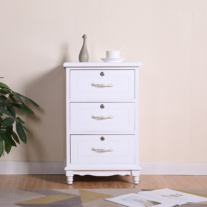 Solid Wood Bedside Table Night Stand End Table Locking