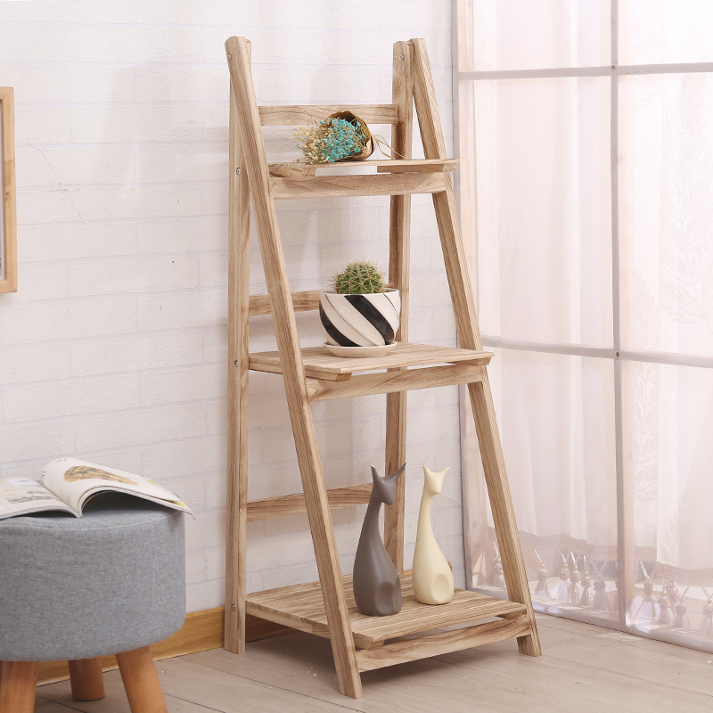 Details About 3 Tiers Wooden Ladder Shelf Bookcase Display Stand Plant Flower Shelving Unit Uk