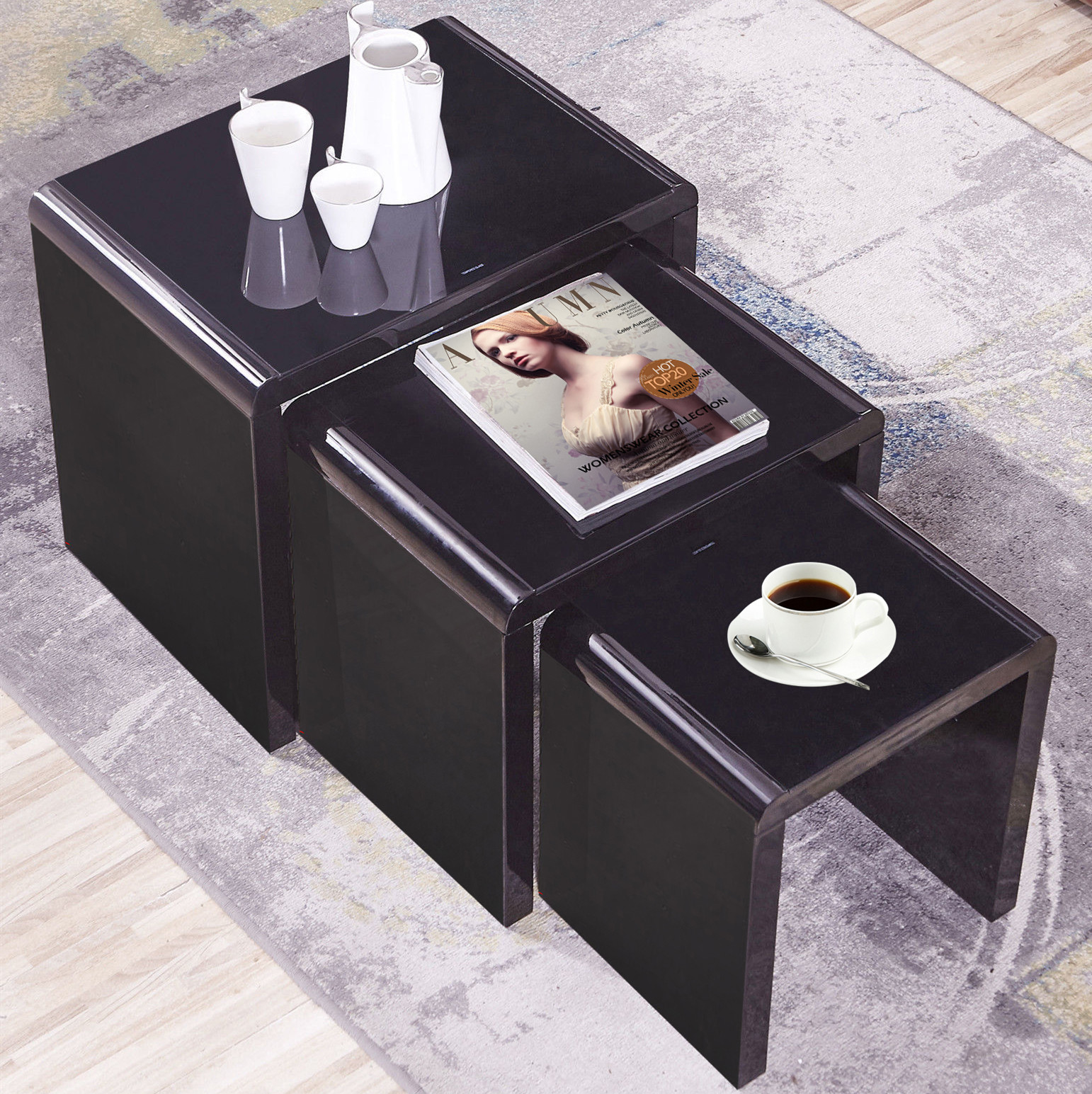High Gloss Black Nest Of 3 Coffee Table