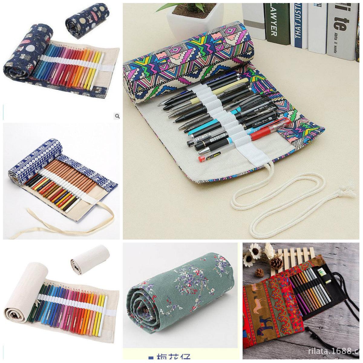 Details About 364872 Holes Top Canvas Wrap Roll Up Pencil Bag Pen Case Holder Storage Pouch