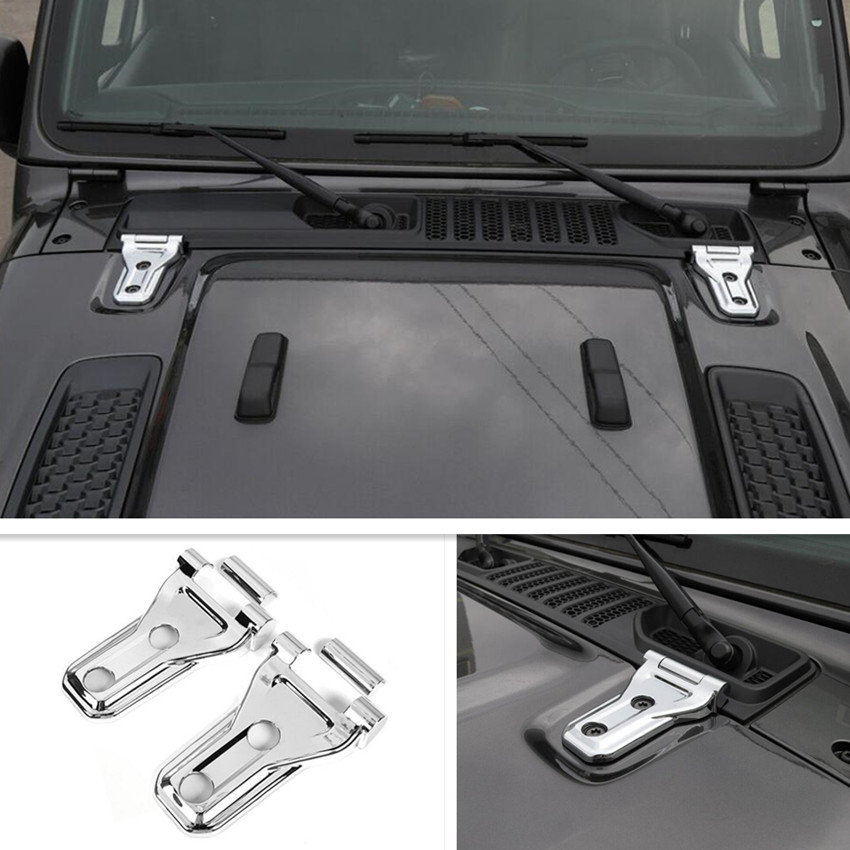 Car Exterior Decoration Front Engine Hood Hinge Cover for 2018 Jeep Wrangler JL Accessories Chrome