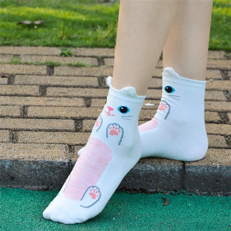 Fashion-Women-Girls-Cute-3D-Animal-Cartoon-Cat-Printed-Casual-Ankle-high-Socks miniature 33