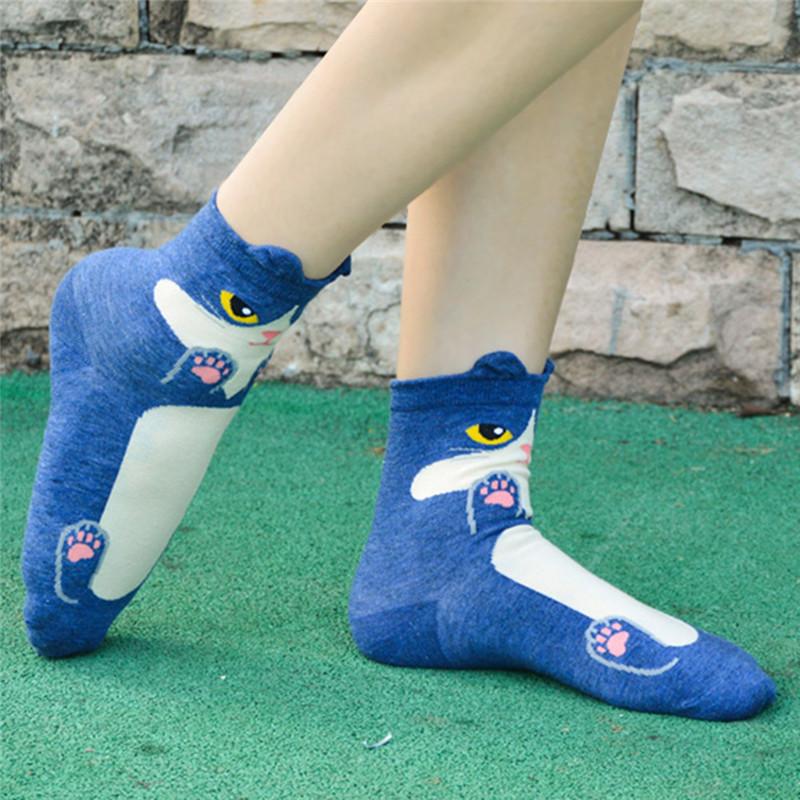 Fashion-Women-Girls-Cute-3D-Animal-Cartoon-Cat-Printed-Casual-Ankle-high-Socks miniature 17