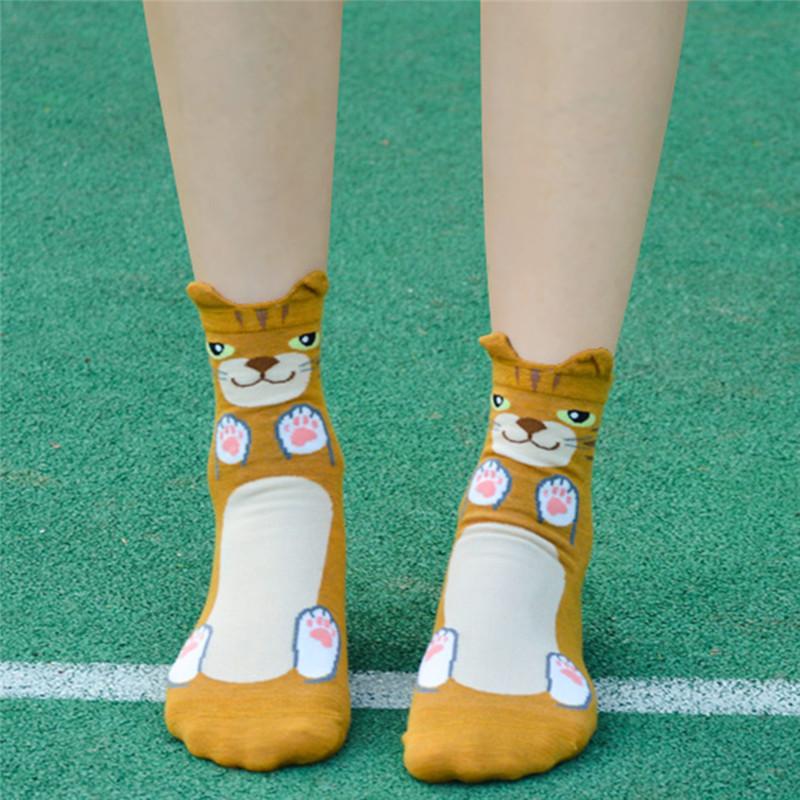 Fashion-Women-Girls-Cute-3D-Animal-Cartoon-Cat-Printed-Casual-Ankle-high-Socks miniature 21