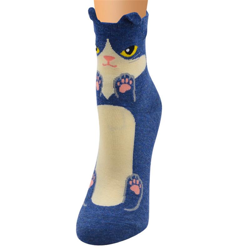 Fashion-Women-Girls-Cute-3D-Animal-Cartoon-Cat-Printed-Casual-Ankle-high-Socks miniature 19