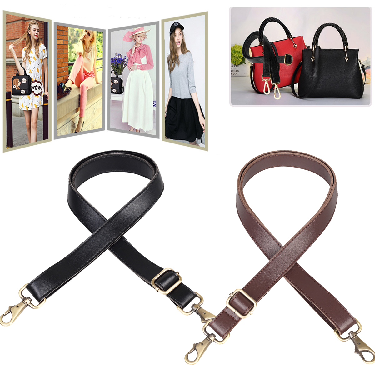 1c6f2e4507 140cm Universal Replacement Adjustable Leather Shoulder Strap with metal  Swivel hooks for leather Crossbody Bag Briefcase
