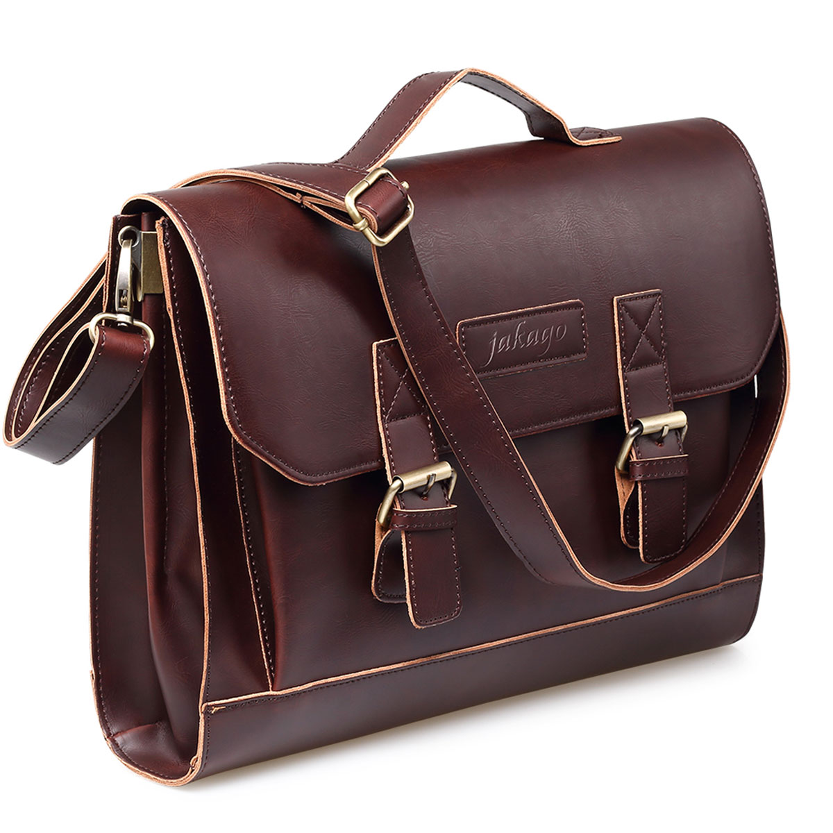 Retro Leather Satchel Briefcase Laptop Messenger Bag For Men And Women Brown