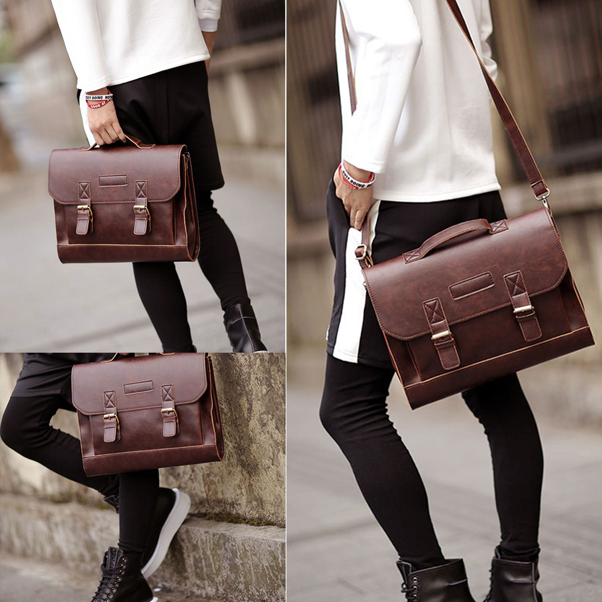 Details About Leather Briefcase Satchel 14 13 3 Laptop Bag Shoulder Messenger Men Women