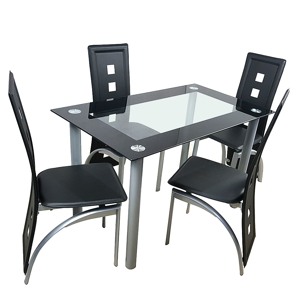 Details About 110cm Gl Dining Table Set Tempered Dinnertable With 4pcs Chairs