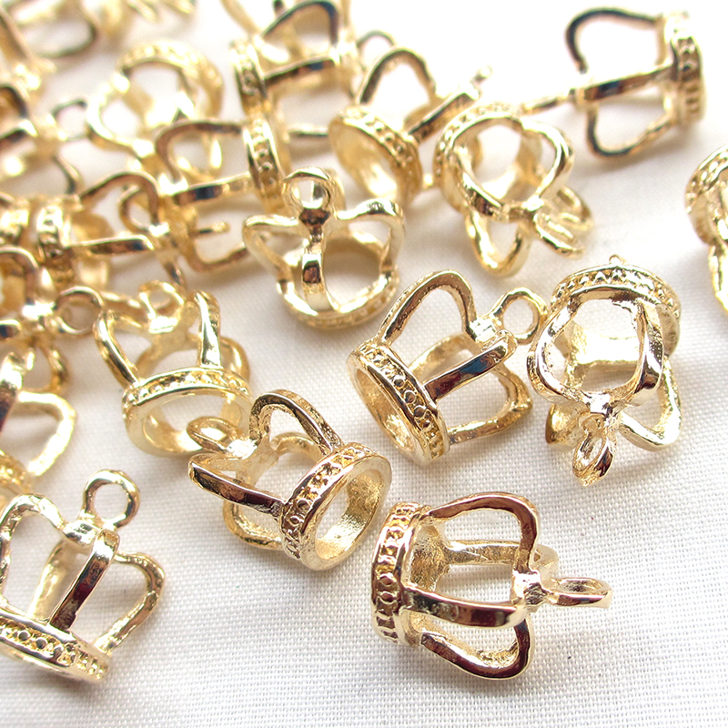 40 pcs Gold Plated Alloy 3D Crown Charms Pendant Jewelry Making Craft Findings