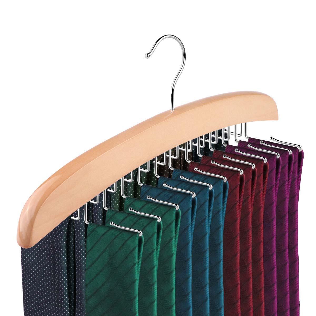 Tie Hanger Rack Organizer Rotating Belt Holder Closet Hook Tie Storage  Necktie