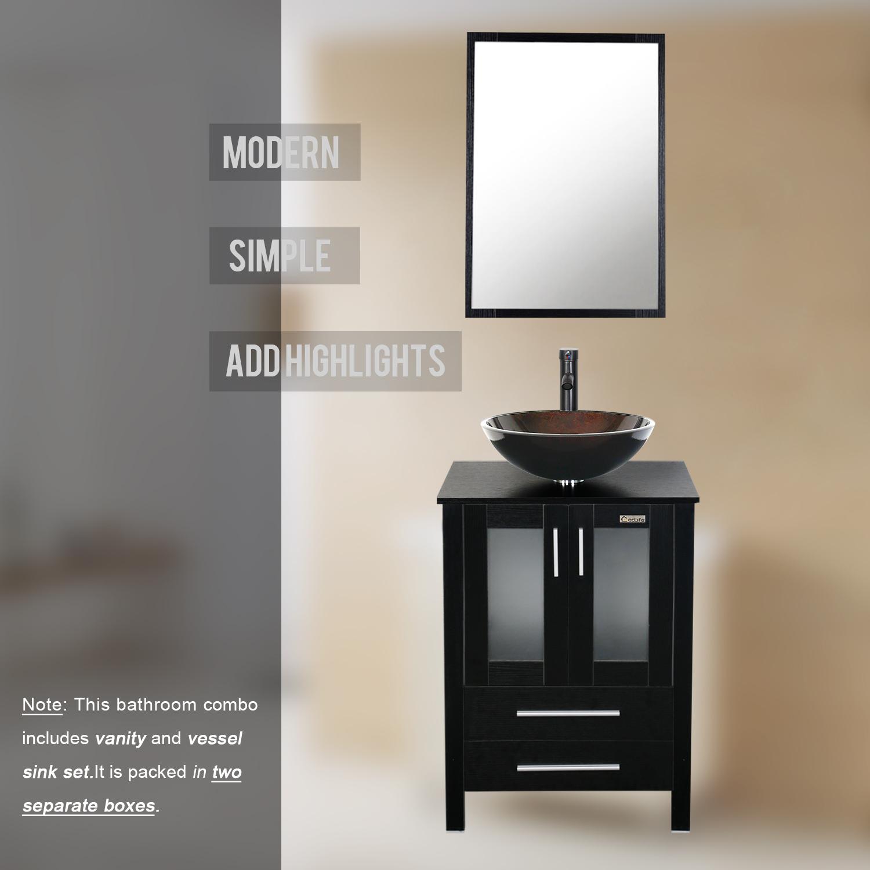 """Bathroom Vanities East Brunswick Nj 24"""" black bathroom vanity mirror single top wood vessel glass sink"""