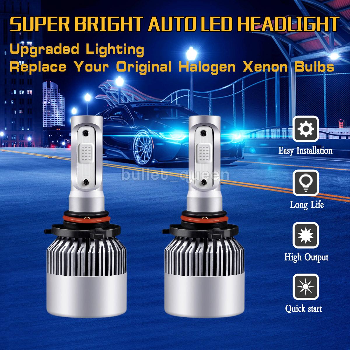 Combo H7 9005 Blue COB LED Headlight Bulb Kit High Low Beam 3000W 450000LM 2pair