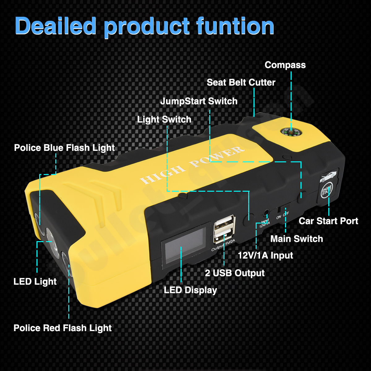 Portable Car Battery Booster Jump Starter 600 Peak Amp Power Bank Start Diagram Jumper Cables