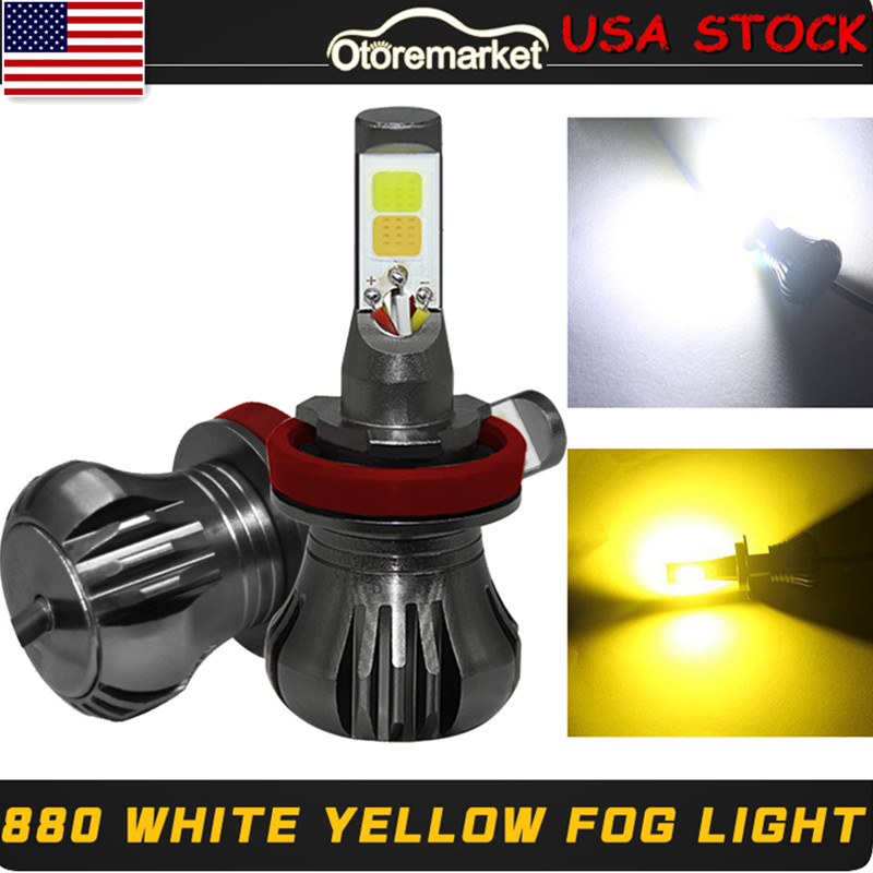 2x LED Lights H11 9600LM White//Yellow COB Bulb Dual Color Kit For Fog Light Car