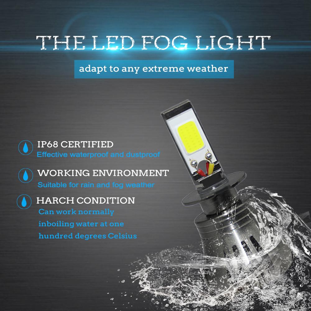 2pcs H3 80W 9600LM LED Bulbs Car Fog Driving Light DRL Lamp Yellow Amber 3000K