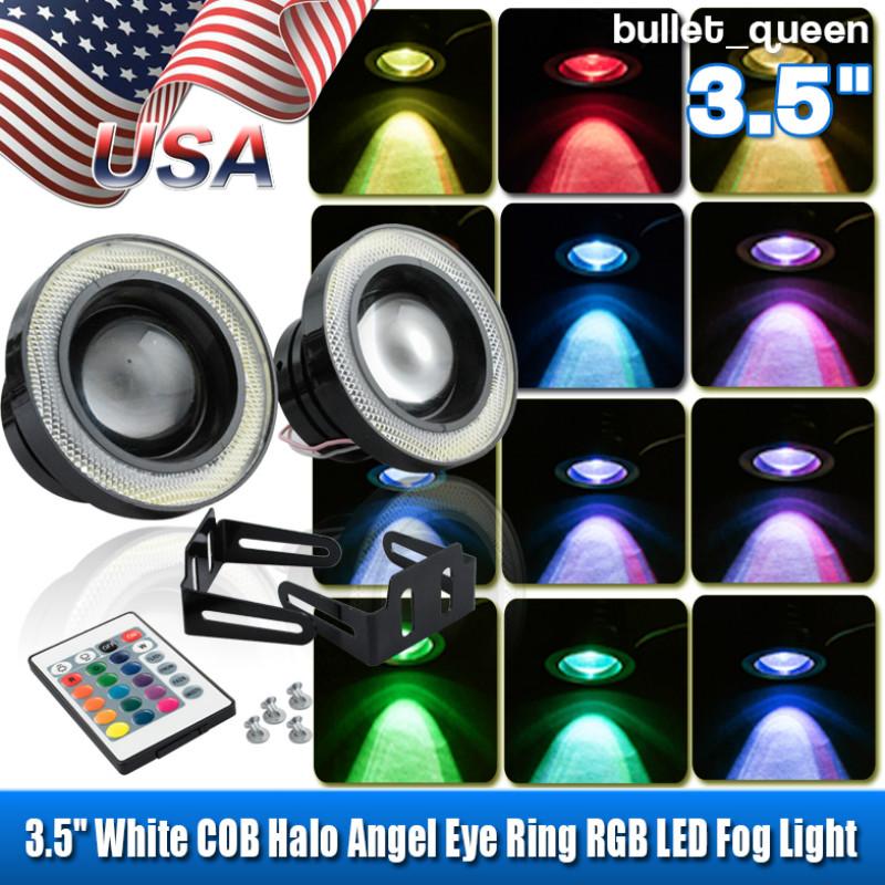 "2x Wireless Control 3/"" LED RGB Color Fog Lights w// White Angel Eye Rings Car USA"