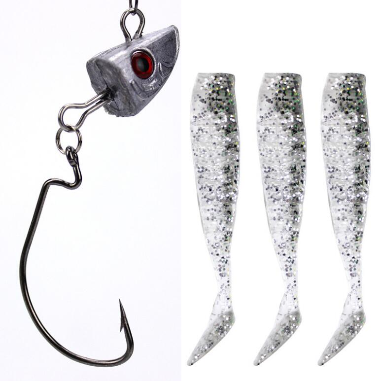 6set Silicone Soft Fishing Lure Jig Head Jigging Lead 15g Soft Bait PVC 6 Colors
