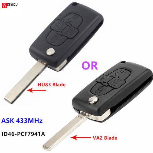 Fits Peugeot 1007  4 Button FOB Remote Key  CASE Uncut Blade VA2