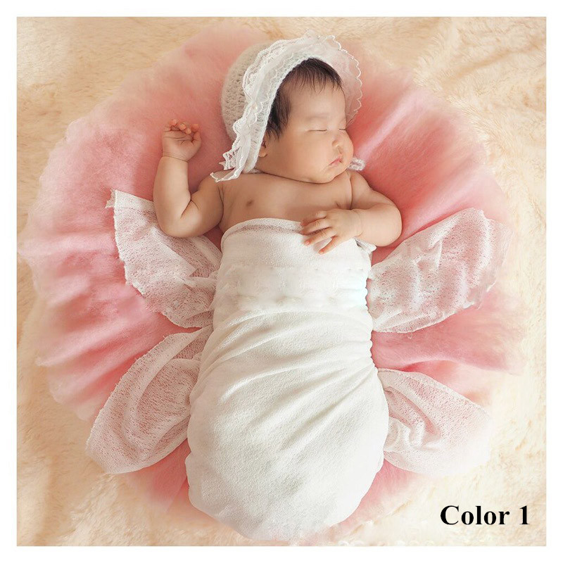 Round mat soft wool rug newborn baby photography photo props background blanket