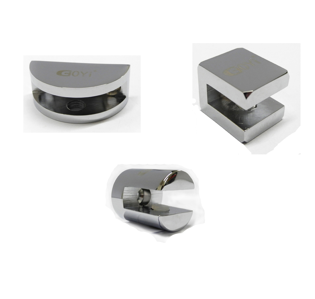 bathroom wall mount glass shelf support bracket clip clamp. Black Bedroom Furniture Sets. Home Design Ideas
