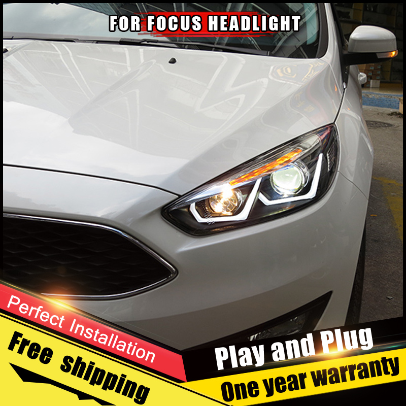 For Ford Focus Headlight assembly Bi-Xenon Lens Double Beam