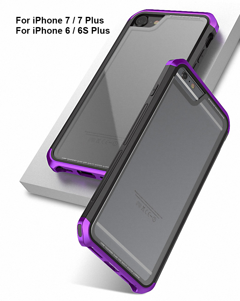 Luphie Aluminum Metal Bumper + Gorilla Glass Case Cover For iPhone X 8 7 6S Plus