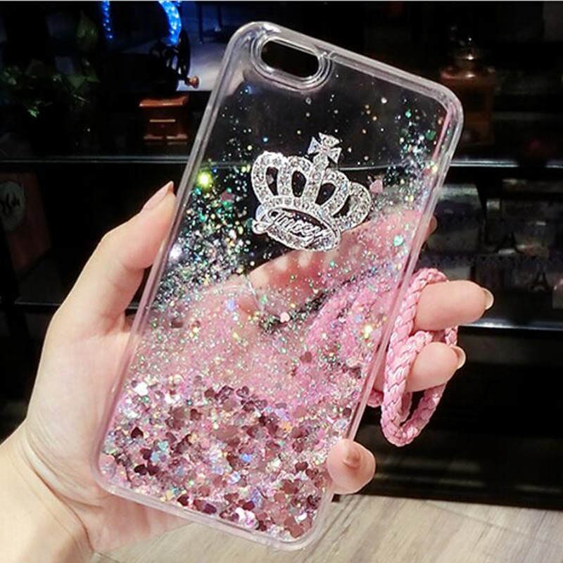 Girl Dynamic Liquid Quicksand Bling Crown Back Case Cover