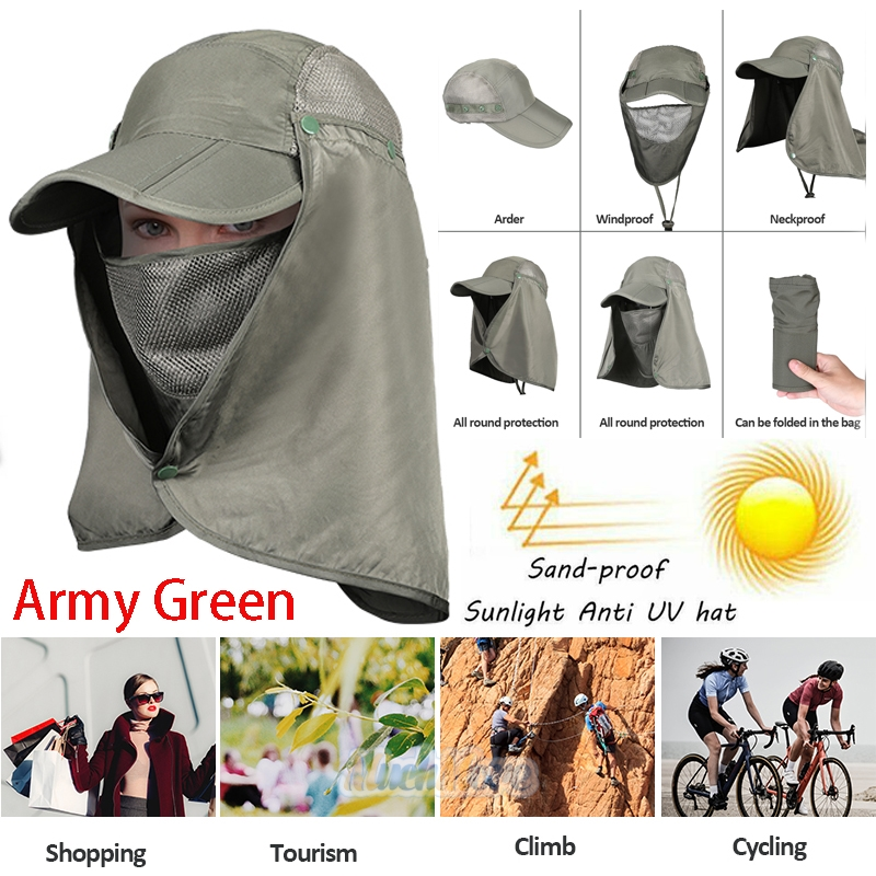 c264864c8 Details about Baseball Cap Camping Hiking Fishing Ear Flap Sun Neck Cover  Visor Hat Army Green
