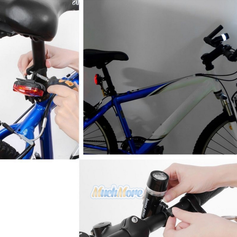 4 Pack 5 LED Lamp Bike Bicycle Front Head Light + Rear Safety ...